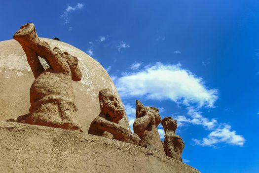 Monkey sandstone sculptures at the Desert Soil Art Museum at the Flaming Mountains in Xinjiang, China