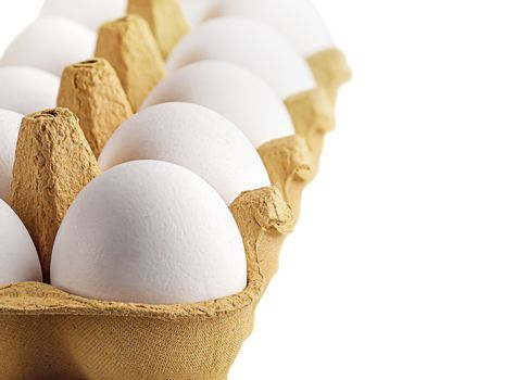 Eggs in a tray perspective