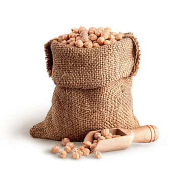 Sack with dry chickpeas and scoop