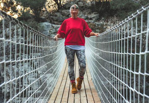 Female hiker in Goynuk Kanyonu in Antalya,Turkey.