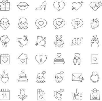 Valentine's Day linear icons set