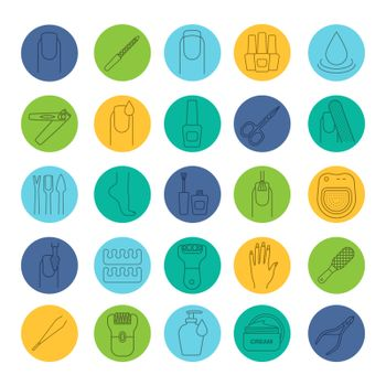 Manicure and pedicure linear icons set