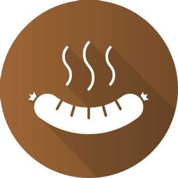 Steaming sausage flat design long shadow icon