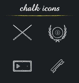 Billiard championship chalk icons set
