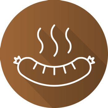 Steaming sausage flat linear long shadow icon