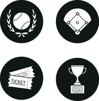 Baseball championship icons set