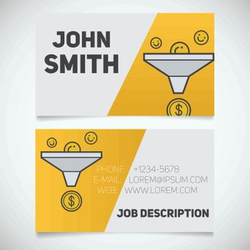 Business card print template with sales funnel logo