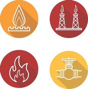 Gas production flat linear long shadow icons set