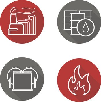 Oil industry flat linear long shadow icons set