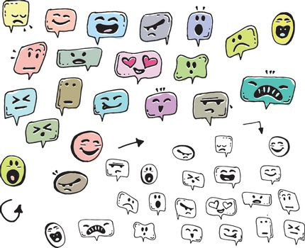 Hand draw face emoji with different emotions icon isolated on white background.