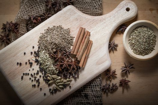 Cooking ingredients,spices on wooden table
