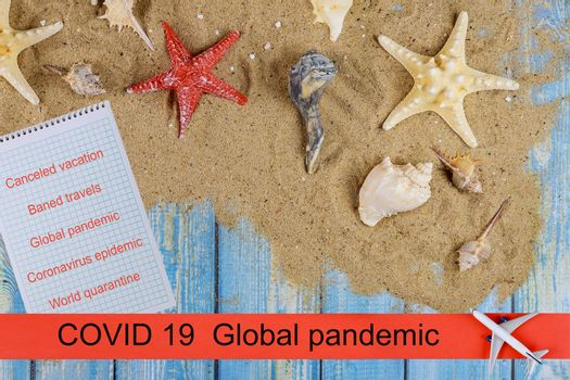 Baned travels with airplanes with cancelled flights to COVID-19 global pandemic coronavirus outbreak
