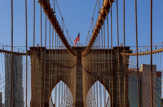 View of upward image of Brooklyn Bridge, New York City Lower Manhattan, USA