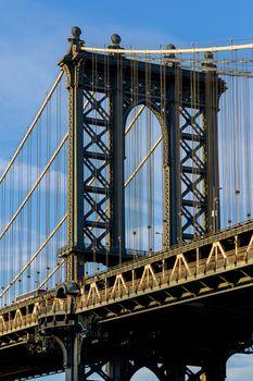 Manhattan Bridge, New York City, U.S. in the blue shade