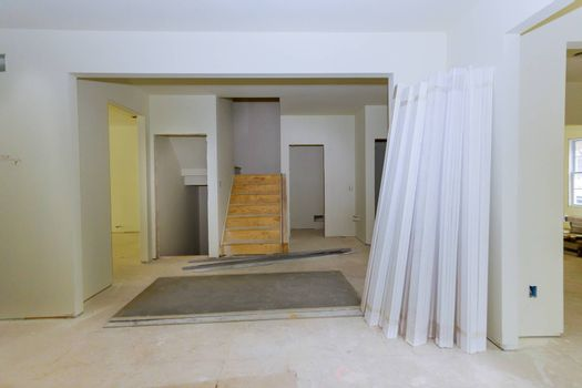 Interior construction of housing project with renovation construction materials