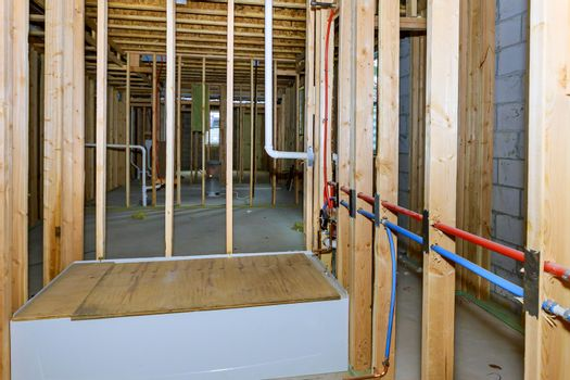 Bathroom shower under plumbing connecting installation pipes for water basement new house