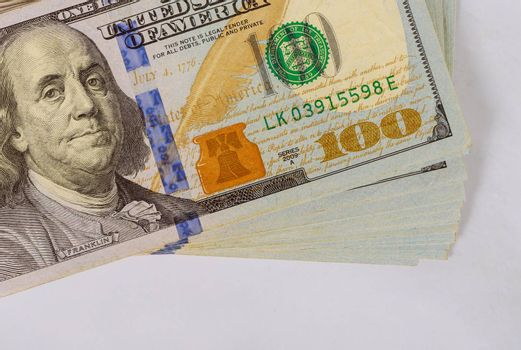 Stack of many currency cash US dollars American bills