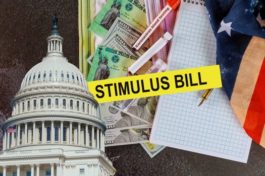 Americans receive emergency payments stimulus checks government US 100 dollar bills currency on Global pandemic Covid 19 lockdown