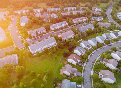 Beauty aerial top drone view of a small town houses from the village of America