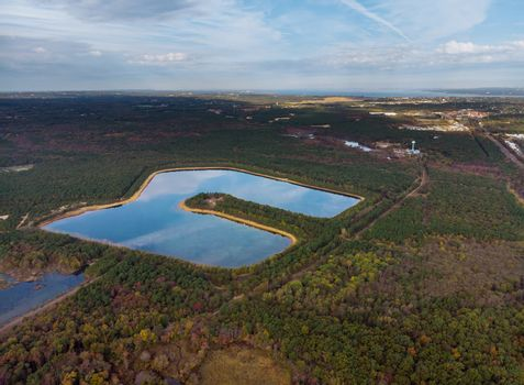 Height lake aerial view on landscapes panoramic view