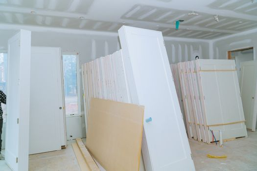Waiting preparation interior doors for room remodeling installing material new home