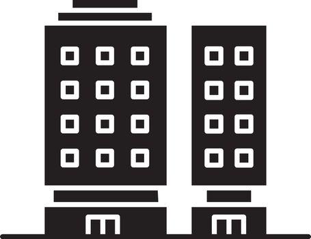 Multiapartment complex black glyph icon
