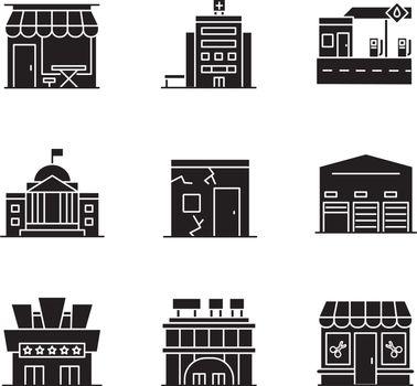 Urban building exteriors black glyph icons set on white space