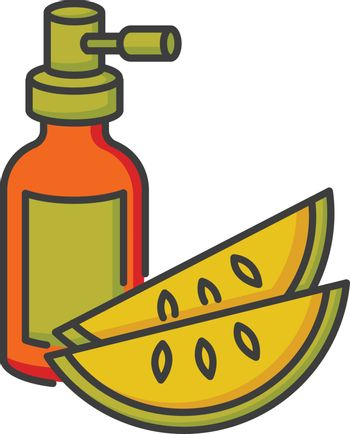 Kalahari melon seed oil RGB color icon. Dermatology product for haircare in spray bottle. Reparative essence for skincare. Organic eco cosmetic for hair treatment. Isolated vector illustration.