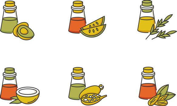 Hair oils RGB color icons set. Avocado ingredient for cosmetic product. Almond essence for haircare. Kalahari melon seed extract. Dermatology treatment product. Isolated vector illustrations.
