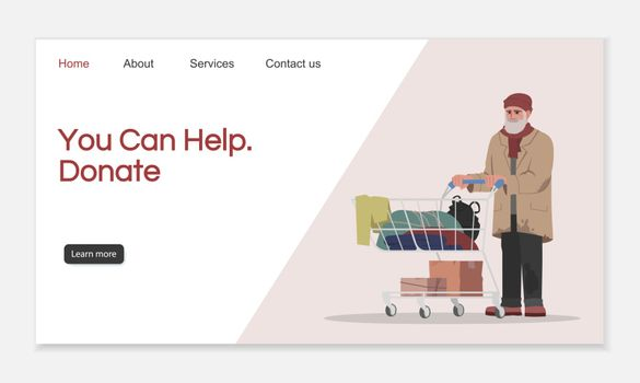 Donate to help landing page vector template