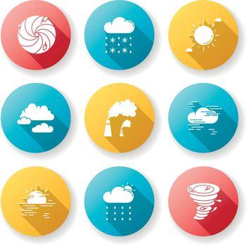 Meteorology flat design long shadow glyph icons set