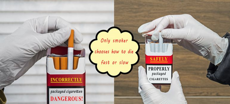 Picture showing incorrect packaging of cigarettes by manufacturers during worldwide spread of viral, bacteriological and biological pandemic
