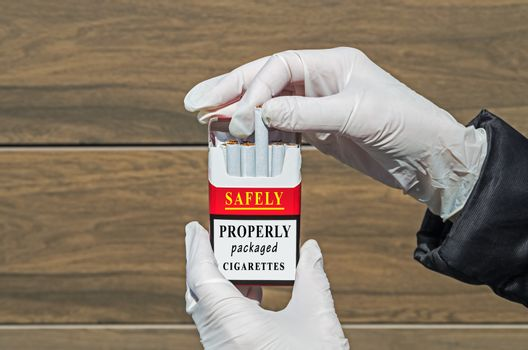 An example of properly packaged cigarettes that can be used completely safely