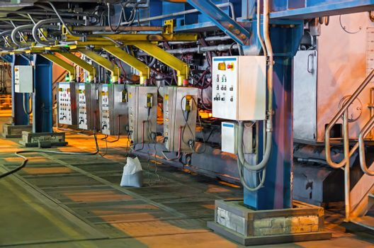 Remote control electric furnace steel plant at the present.