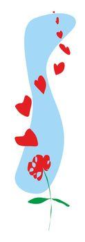 ilustracion de una flor que sus petalos se convierten en corazones