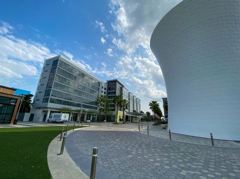 Orlando, FL/USA-4/10/20:  The exterior of a Marriott Courtyard and Residence Inn in Laureate Park Lake Nona Town Center in Orlando, Florida.