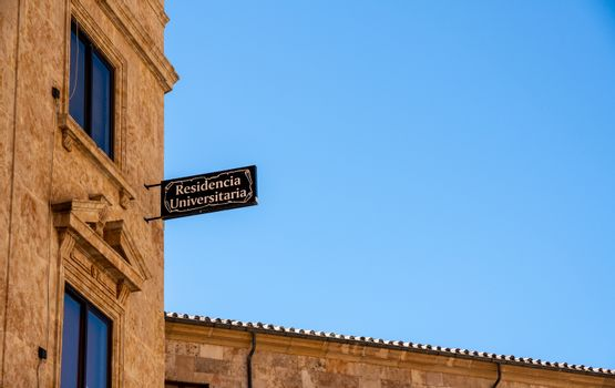 Sign for the student accommodation at Salamanca University in Spain