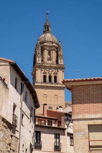 Ornate bell tower on the old Cathedral in Salamanca