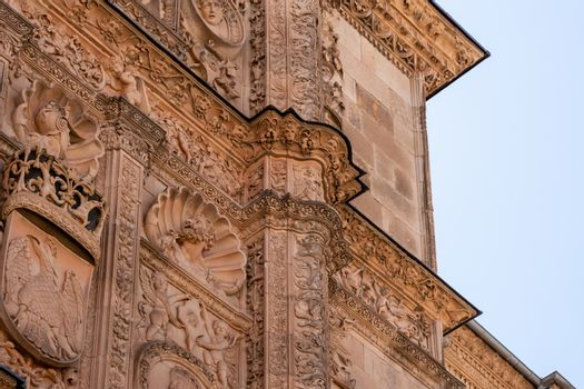 Ancient Plateresque facade of the building at Salamanca University in Spain