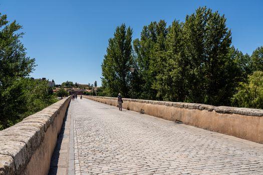 Old Roman bridge leading away from Salamanca in Spain