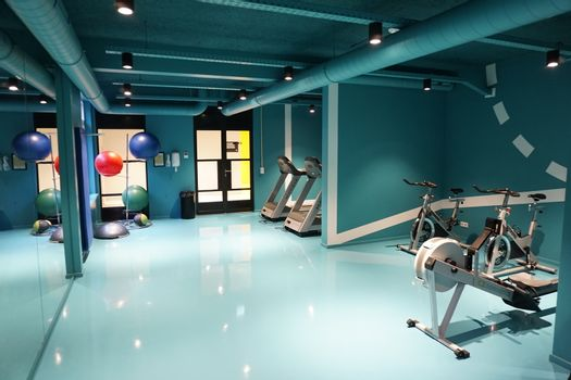 Interior of a fitness room of a hotel