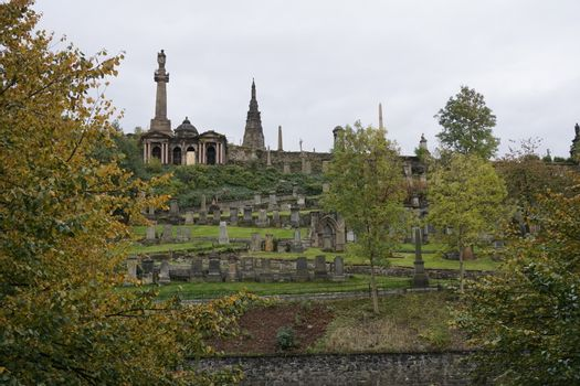 View over tombstones of Glasgow Necropolis