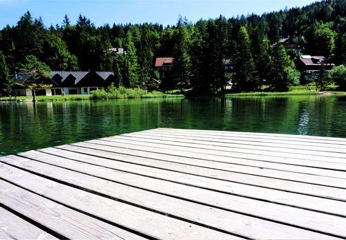 View over Lake Jasna, Kranjska Gora in summer
