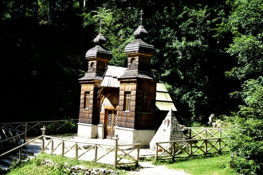 Russian Chapel near Kranjska Gora in the sun