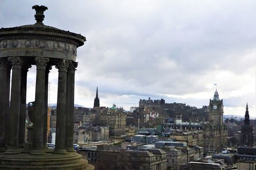 View over Edinburgh from Calton Hill with Dugald Stewart Monument