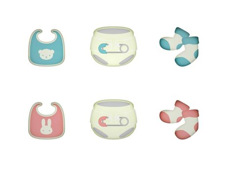 object for a girl and boy birth on a white background - 3d rendering