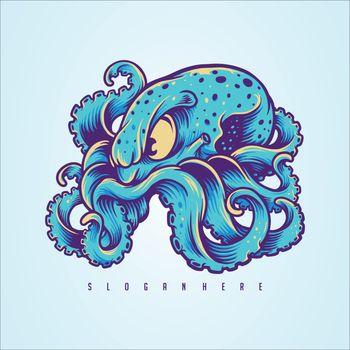 Blue Kraken, Octopus Logo Design your Merchandise