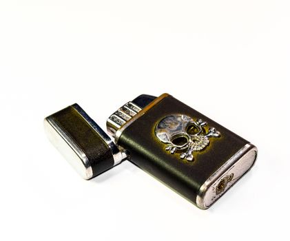 Reusable steel lighters. Creative lighters on a white background.