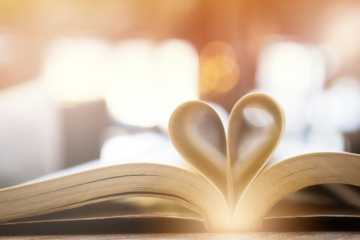 book in heart shape, wisdom and education concept, world book an