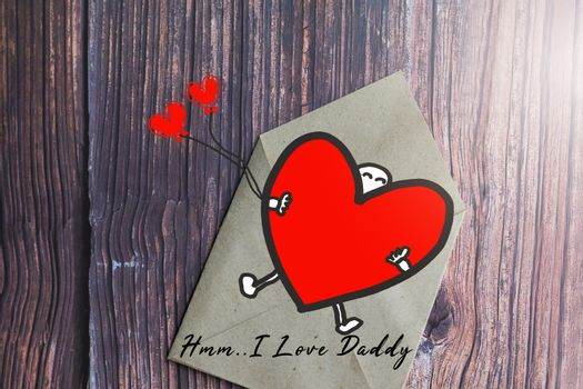 Father's day gift card with word I Love Daddy, greeting card